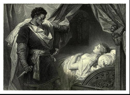 A personagem Otelo na cena em que mata a personagem Desdêmona
